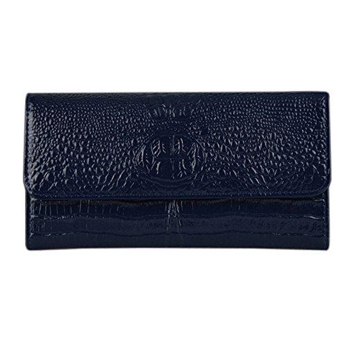 Neue Krokodil Muster Lackleder Frauen Handtasche Europäischen Und Amerikanischen Mode Leder Brieftasche Einfache Hülle Tasche,RoyalBlue-OneSize - Leder Gestickte Brieftasche