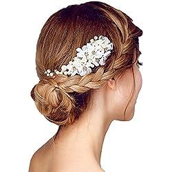 Contever® Tüll Blume Sicke Simulierte Perlen Braut Haarkämme Hochzeit Haarschmuck für Brauthochzeits Abschlussball Partei - Weiß