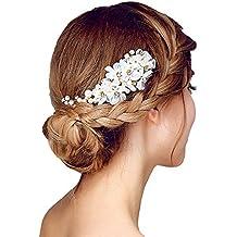 Brautschmuck haare blumen perlen  Suchergebnis auf Amazon.de für: Haarschmuck - Weiße Blumen