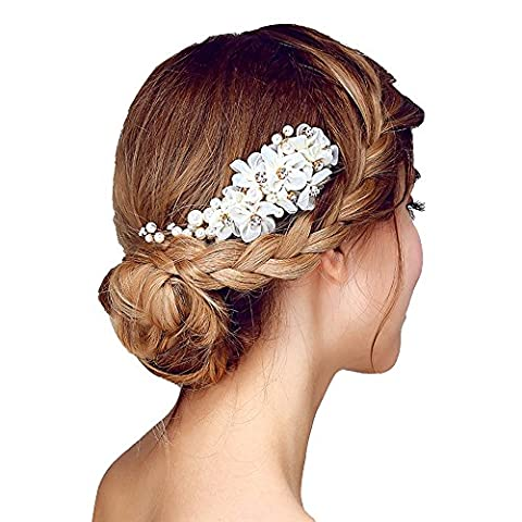 Contever® Tulle Perlage Simulations Pearls Nuptiale Peignes de Mariage Accessoires de Cheveux pour Mariée Prom Party -