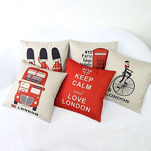luxbon-set di 5PCS London Lover Decorativo Cuscino Cover resistente cotone lino throw pillow cover casa arredi 45,7x 45,7cm 45x 45cm