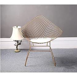 YIDIAN Silla de Alambre Hueco Moderno Silla de diseño Creativo de Hierro Forjado Simple (Oro) 85CM * 55CM * 45CM