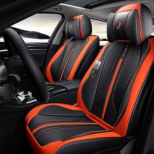 Seggiolino auto in pelle a 5 posti Telo coprisedile di lusso Modello completo con surround 360 ° (Audi A3 A4L A6L Q3 Q5 A5),Orange