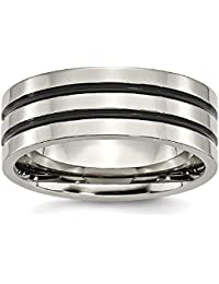 ICE CARATS Titanium Enameled Grooved Flat 8mm Wedding Ring Band Fashion Jewelry Gift Set For Women Heart