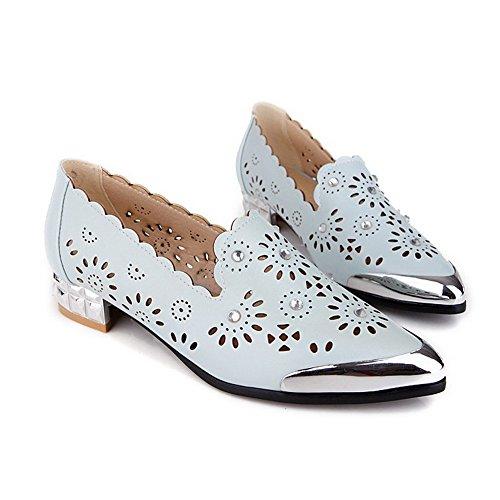 AgooLar Femme Pointu Matière Souple Mosaïque Tire Chaussures Légeres Bleu