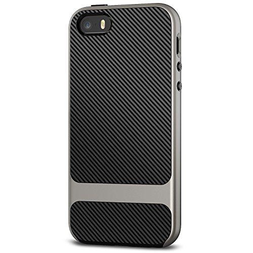 JETech Cover per iPhone SE iPhone 5s iPhone 5, Custodia con Assorbimento Degli Urti e Fibra di Carbonio, Grigio