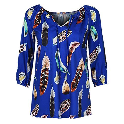iHENGH Damen Sommer Top Bluse Bequem Lässig Mode T-Shirt Blusen Frauen Plus Größen halbe Hülsen Feder Druck V Ansatz Bluse Pullover Tops Shirt(Blau, 3XL) (Kostüme Plus Größe Renaissance)