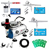 Voilamart Complete Airbrush Kit with Compressor 1/6HP High Performance Quiet Compressor 0.35mm 5cc/22cc