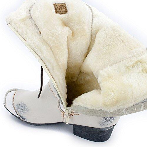 Tma Soul Look Stivali Invernali Da Donna, Vera Pelle, Colori Disponibili, Taglie 36-42 / 43 Bianco Crema