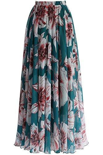 Chiffon Rock Damen Lang Swing Maxirock Leicht Elegant Sommerrock mit Blumenmuster Flowy Boho Geblümt Röcke