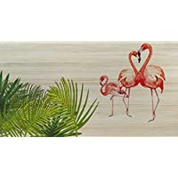 Decowood Cabecero con diseño Flamencos, Pino, Natural, ...