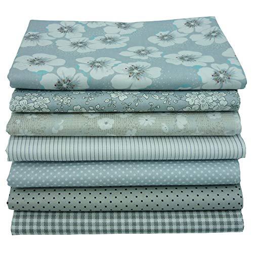 """7 piezas de tela de acolchado de los cuartos gruesos grises, tela de costura de algodón con estampado floral superior 46x56cm para acolchar, 18""""x 22"""""""