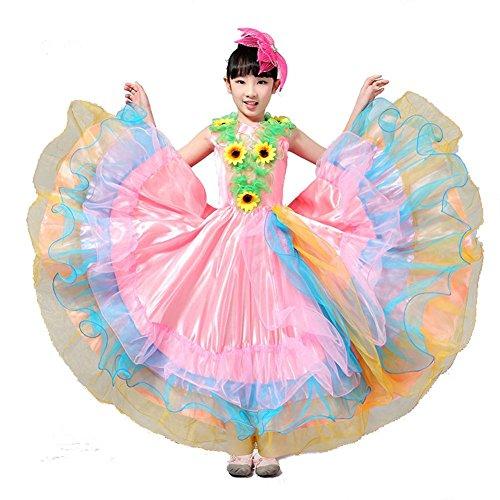 Wgwioo Kinder Flamenco Kleider Zeigen Kostüm Rock Modernen Tanz Stier Mädchen 180 360 540 720 Grad Performance Big Swing Chorus , Pink Skirt 180 , 150Cm (Satz Tan Kurzen)