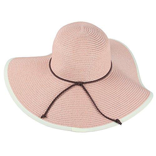 SiDiOU Group Damen Sommer Falten Stroh Hüte Wide Brim Große Fedora Floppy Beach Sun Hut für Frauen (Rosa) (Fedora-hüte Für Frauen Groß)