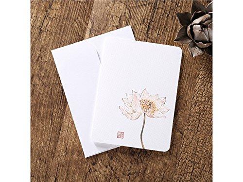 (BaBaSM Tragbar Grußkarten mit Umschlägen Blanko Grußkarten Klassische chinesische Karten Floral Vintage Printing (Lotus))
