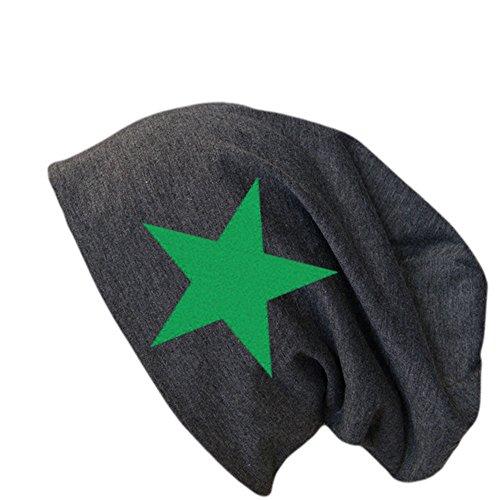 Jersey Baumwolle Long Slouch Beanie Unisex Mütze UNIFARBEN mit STERN oder ANKER Herbst Winter (Anthrazit Stern grün)