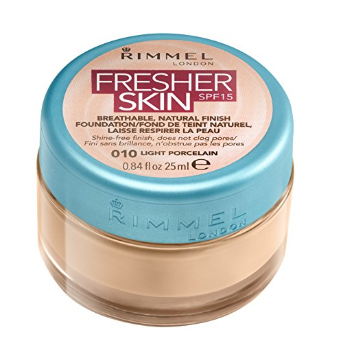 Rimmel London Fresher Skin Foundation, 010 Light Porcelain, 25 ml