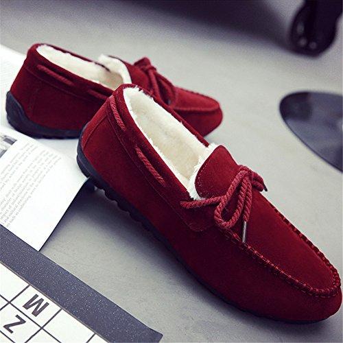 Paragon Mocassins pour Homme Confort Cuir Chaussures de Conduite Fourrées Plates Chaussures de Ville Loafers 04 Rouge-Chaud fourrure
