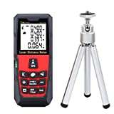 DMiotech® Laser Distance Measure 196ft 60m Mini Handheld Digital Laser Distance Meter Rangefinder Measurer Tape Diastimeter Red with Tripod
