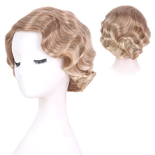 STfantasy Blonde Bob Finger Locken Perücke Burlesque Faschingsperücke Betty 20er Wasserwelle gelockt kurz layered Retro wig für Frauen Cosplay Kostümparty Karneval Halloween