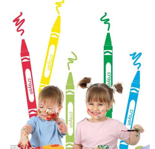 MYVINILO-Adesivo per bambini-crayons: medio/verde scuro/verde chiaro/Rosso/Giallo/Nero, 150 x 150 cm