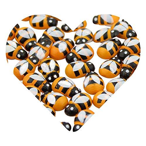 DEKOWEAR® Bienen selbstklebend mit Klebepunkt | Zum dekorieren aus Holz, 13 mm als Glücks-Biene Deko | Handgearbeiteter Mini Holz-Bienchen Glücksbringer zum kleben [Gelb, 100 Stück]