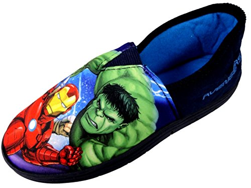 Boys Marvel Avengers Character House Slipper Superhero Shoes (3 UK, Blue/Multi)