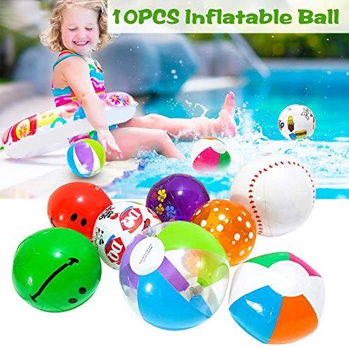 chalkalon 10 STÜCKE Aufblasbare Wasserbälle, Aufblasbare Pool Ball Wasser Spielzeug Hohe Bounce Bunte Ball Sommer Pool Outdoor Beach Party Ball für Kinder, Zufällige Farbe -