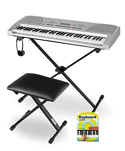 Funkey Super Kit 61 Tasten Keyboard Set (Elektronisches Unterrichts-Keyboard mit LCD Display, inklusive Ständer, Hocker und Kopfhörer) silber (Spielen Sie Klavier Mit Bank)