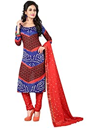 Taboody Empire Bright Multi Satin Cotton Handi Crafts Bandhani Work With Straight Salwar Suit For Girls And Women