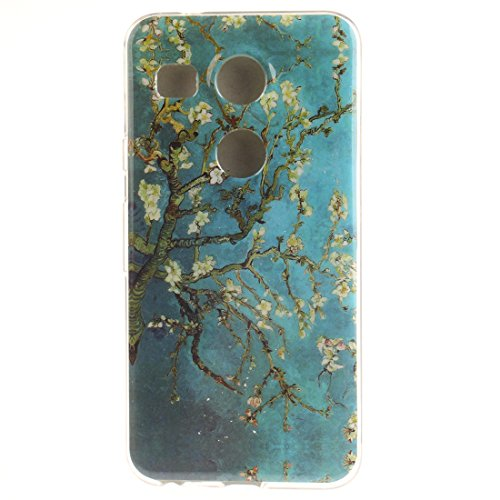 LG Nexus 5X Hülle, Hozor Gemaltes Muster Transparent Kante Silikonhülle Ultra Slim Weich TPU Silikon Kratzfeste Handyhülle Schutz Case Backcover - Pflaumenbaum