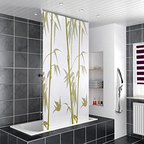 Homelux Duschrollo Badezimmer Vorhang Deckenbefestigung mit Klemmstange Seitenzug Links oder rechts montierbar 140 x 200 cm Bambus
