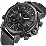 Naviforce Casual Watch For Unisex Analog-Digital Genuine Leather - nf 9134
