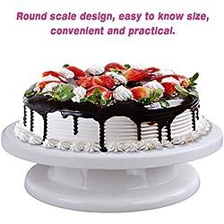27,5 cm Base Giratoria Mesa Giratoria Tartas Round Cake Turntable 360°de Rotación, Rotatorio de Decoración de Pasteles Soporte, Soporte de Decoración de Pasteles, Soporte Giratorio de la Torta-Blanco