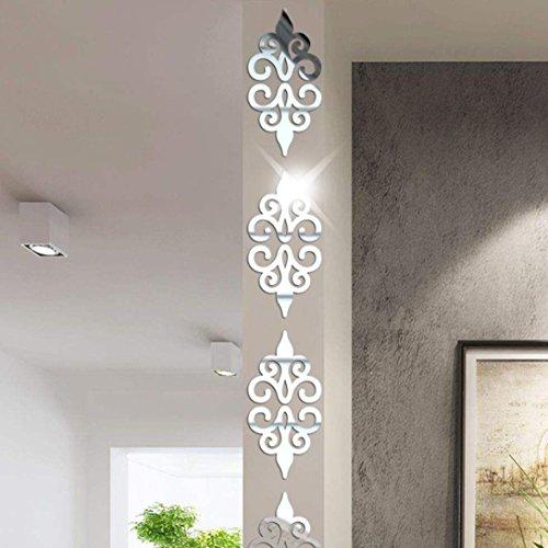 3D Espejos Pegatinas de Pared Sencillo Vida, Adhesivos de Pared, Espejos Calcomanías Decorativas de Pared, Movible, Extraíble, Decoración de Hogar 10 (Piezas), Plateado