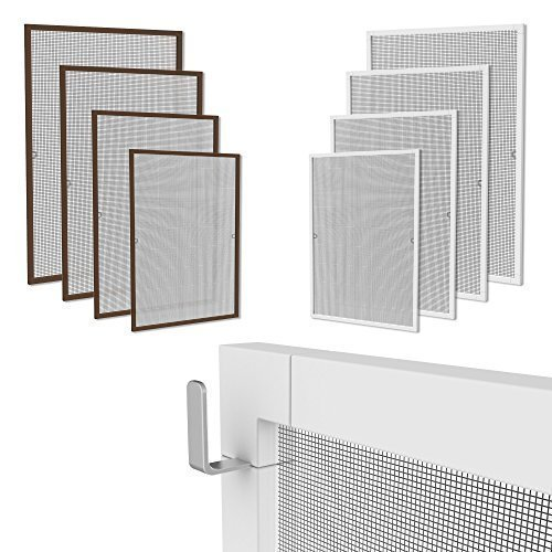 Weißer Aluminium-rahmen (Klemmfix Fliegennetz Fenster Aluminium Rahmen Weiss Größe 80cm*100cm Fliegengitter OHNE Bohren Insektenschutz Gitter Fiberglas)