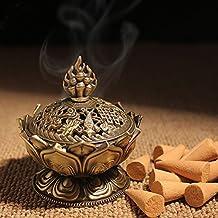 xiduobao metal de aleación Flor de Lotus quemador de incienso buda quemador de incienso soporte Vela censer- budista decoración, decoración del hogar. (grande), large
