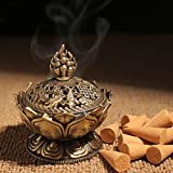 XIDUOBAO Lotus Flower Incense Burner Alloy Metal Buddha Incense Burner Holder Candle Holder Censer- Buddhist Decor,Home Decoration. (Small)