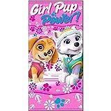 NickelodeonPawPatrol Paw Patrol- Kinder - Handtuch/Saunatuch / Strandtuch/Duschtuch / Badetuch für Mädchen - 70 x 140 cm - aus Baumwolle- Tolle Geschenkidee - Skye und Everest