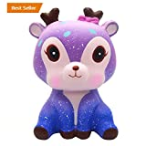 HKFV Unique Starry Amazing Galaxy Purple Deer Flying Horse Slow Rising Stress Relief Superb Cute Deer Lovely Deer Cream Scented Squishy Toys Squeeze Strap Kids Toy Gift (Galaxy Deer)