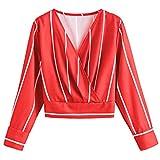 AMUSTER Damen Streifen Bluse Elegant Chiffon V-Ausschnitt Langarm Casual Oberteil Lose Langarmshirt V-Ausschnitt Vintage Tunika Hemd T-Shirt
