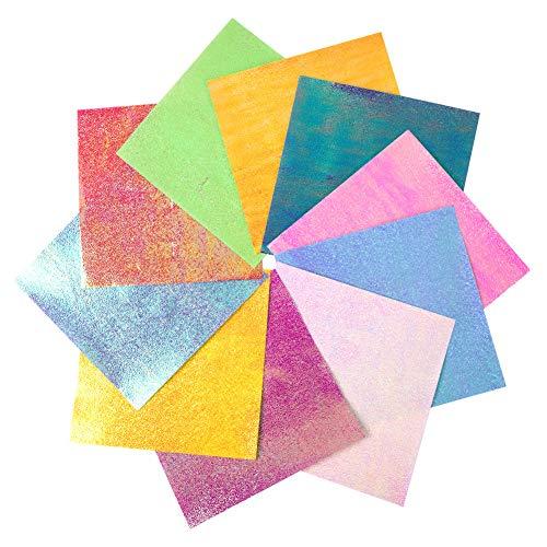 Origami Papier Faltpapier,100 Blatt-glänzender einseitiger 10 Regenbogen-Farbquadrat-faltender Papiersatz für Kran,Sterne, Flugzeuge, Flugzeuge,Tiere scherzt Kunst und DIY-Fertigkeiten(100-Glitter)