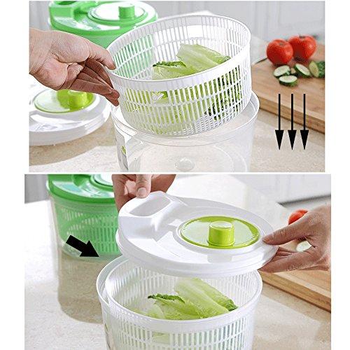 Salatschleuder mit Kurbel, Salatschlüssel Seiher Sieb