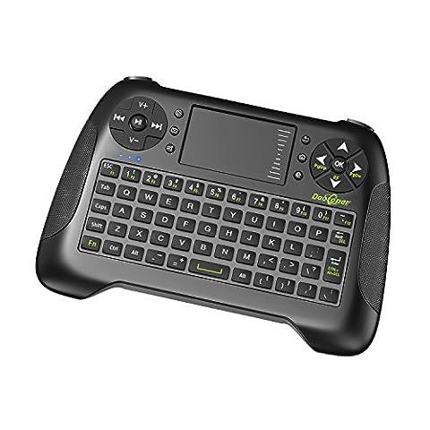 Mini Tastatur kabellos mit Touchpad-Maus/ Dootoper 2.4 GHz Wireless Keyboard/ 10 Meter Reichweite/ 76 Tasten(2 Sondertasten) /geeignet für Smart TV, Android TV Box, HTPC, IPTV, XBOX360, PC, PAD, PS3, Tablets usw.(Schwarz)