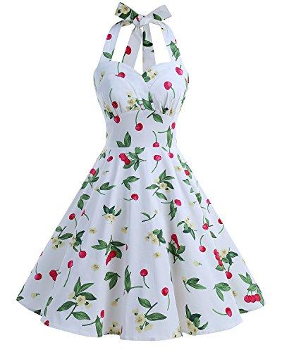 Bbonlinedress Neckholder 50er Vintage Pinup Retro Rockabilly Kleid Cocktailkleider White Small Cherry S