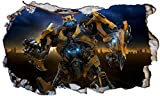 Chicbanners Transformers Bumblebee v0023 Wall Smash Crack Smash Wandtattoo Selbstklebende Poster Wall Art Größe 1000 mm Breit x 600 mm Tief (groß)