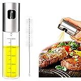 Eletorot Ölsprüher Öl Sprühflasche Essig spritzer Ölspender Transparent Öl Sprayer aus Edelstahl & Glas, Öl Auslöser/Olivenöl Glasflasche mit Bürstefür Kochen, Salat, BBQ, Pasta, Grillen-100ml