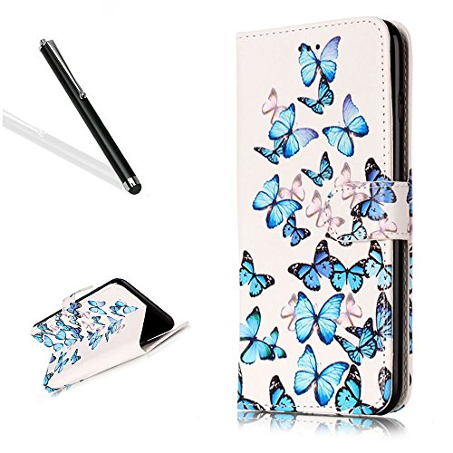 Wallet Custodia per iPhone 6S Plus,Custodia in Pelle per iPhone 6 Plus,Leeook Moda Bella Elegante Vintage Bianca Blu Farfalla Design Magnetico Colorata Folio Morbida PU Cover Borsa Copertura Libro ID White Blue Butterfly