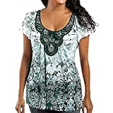 Linkay T Shirt Damen Langarm Bluse Lose Tops Drucken Oberteile S-5XL Mode 2019 (Grau, XX-Large)
