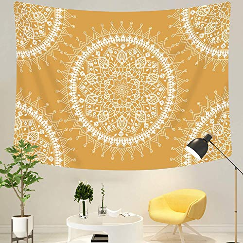 ch Indisch Mandala Hippie Bohemien Orientalisch Wandtuch Tapisserie wandbehang Hellblaue Blume Tapestry Psychedelic Boho Stil als Dekotuch Tagesdecke (gelbe Blume, L / 148x200cm) ()